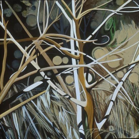 KAREN KITCHEL, PROMONTORY 14 oil on wood