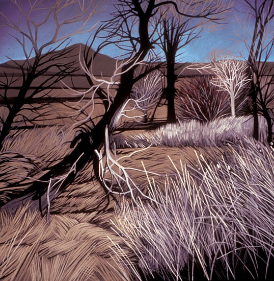 KAREN KITCHEL, BLUE SKIES WITH DEAD LEANING TREE oil on panel