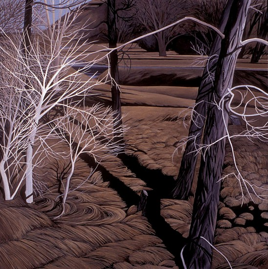 KAREN KITCHEL, CUT TREE WITH RIVER BANK oil on panel