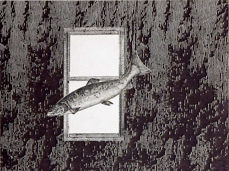 STACEY STEERS, PHANTOM CANYON (FISH FLYING BY WINDOW) collage