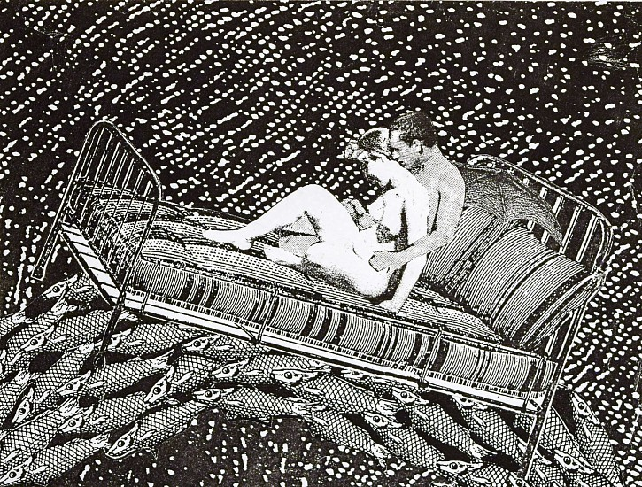 STACEY STEERS, PHANTOM CANYON (LOVERS ON BED OVER FISH) collage