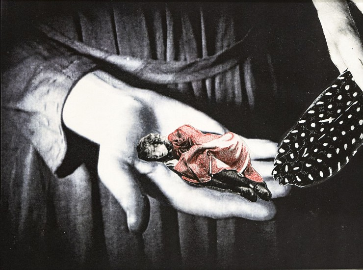 STACEY STEERS, NIGHT HUNTER (WOMAN STROKED BY FEATHER) collage