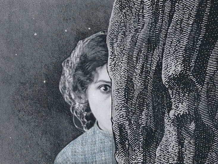 STACEY STEERS, EDGE OF ALCHEMY Ed. 10 (GIRL BEHIND ROCK WALL, ONE EYE) archival pigment print