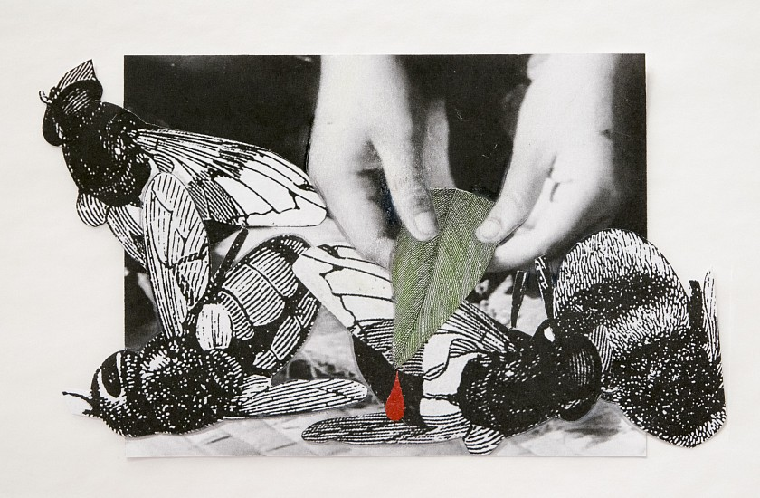 STACEY STEERS, EDGE OF ALCHEMY TRIPTYCH<br /> hand-worked photo collage