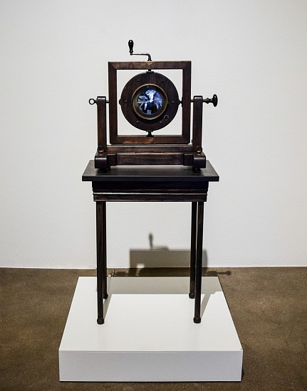 STACEY STEERS, OCULUS SERIES two Nixplay digital frames, antique level, antique glass clock bezel, table, antique knobs