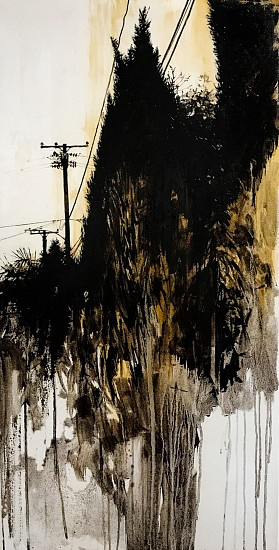 KAREN KITCHEL, HORIZONLINE #3 asphalt emulsion, tar, wax powdered pigments, shellac on canvas