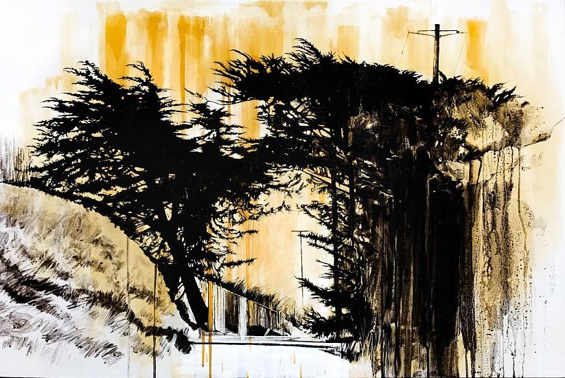 KAREN KITCHEL, HOMELESS CAMP asphalt emulsion, oil, wax powdered pigments, shellac on canvas