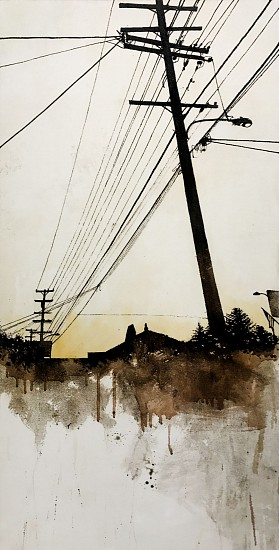 KAREN KITCHEL, HORIZONLINE #5 asphalt emulsion, tar, wax powdered pigments, shellac on canvas