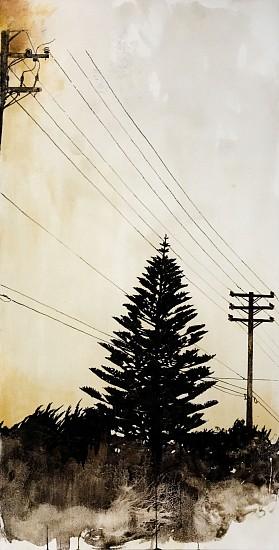 KAREN KITCHEL, HORIZONLINE #8 asphalt emulsion, tar, wax powdered pigments, shellac on canvas