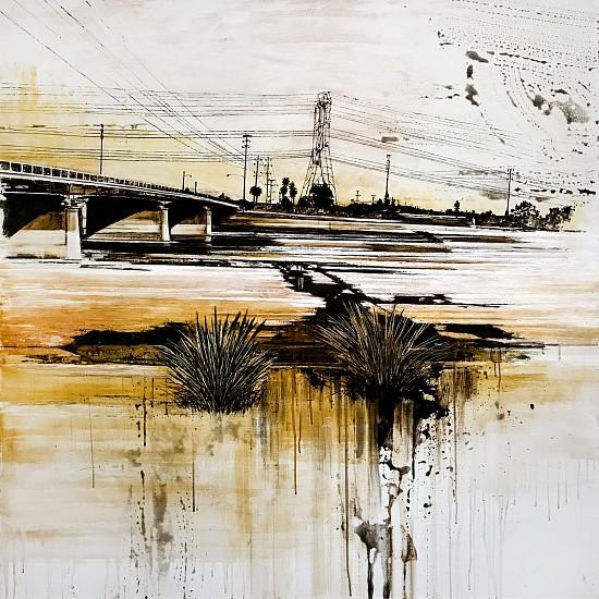 KAREN KITCHEL, WATERWAY #1 (LOS ANGELES RIVER) asphalt emulsion, tar, wax powdered pigments, shellac on canvas