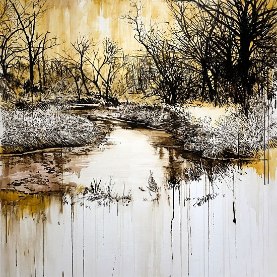 KAREN KITCHEL, WATERWAY #4 (CLEAR CREEK, WYOMING) asphalt emulsion, tar, wax powdered pigments, shellac on canvas
