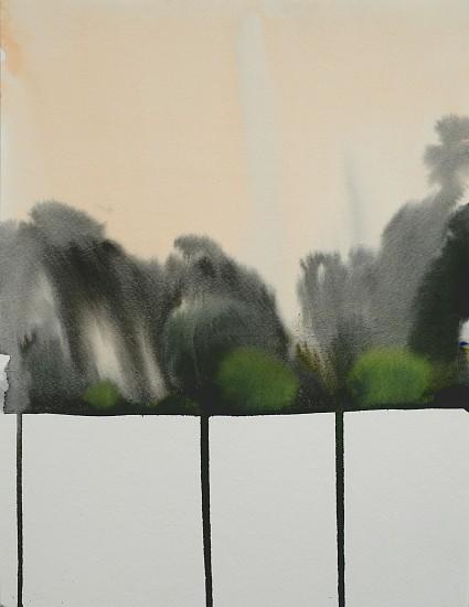 NIKKI LINDT, MELTING LANDSCAPE WITH ORANGE SKY watercolor on paper