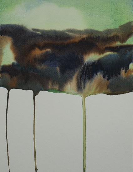 NIKKI LINDT, MELTING LANDSCAPE WITH GREEN SKY watercolor on paper
