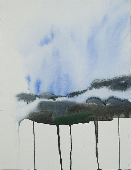 NIKKI LINDT, MELTING LANDSCAPE WITH FOG watercolor on paper