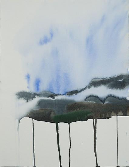 NIKKI LINDT, MELTING LANDSCAPE WITH FOG watercolor on paper