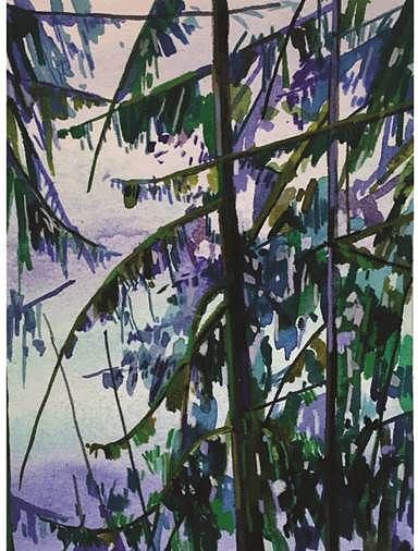 CLAIRE SHERMAN, TREES AND WATER mixed media on paper