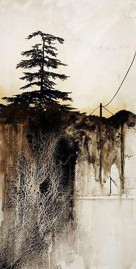 KAREN KITCHEL, HORIZONLINE #6 asphalt emulsion, tar, wax powdered pigments, shellac on canvas