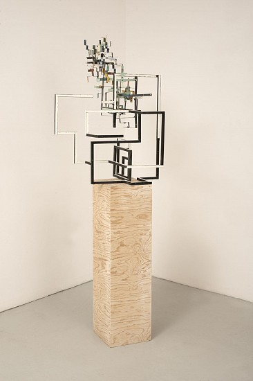 TED LARSEN, HALF NAKED salvage steel, hardware, chemicals, silicone and wooden plinth