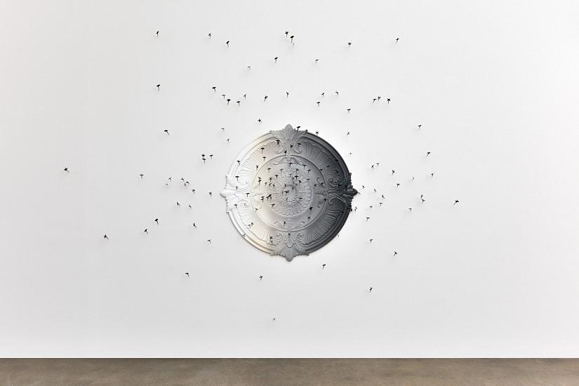 DERRICK VELASQUEZ, DART BOARD (THE BABY-FACED ASSASSIN) cast foam, acrylic and darts