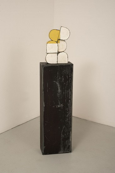 TED LARSEN, BALL CLUB salvage steel, marine-grade plywood, silicone, vulcanized rubber, hardware, welded steel, chemicals