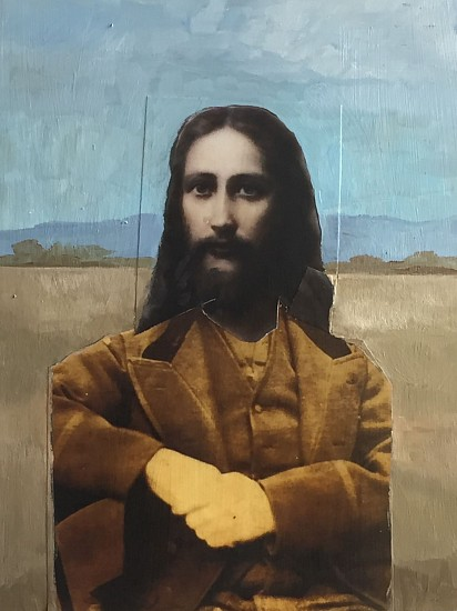 TOM JUDD, JESUS ON THE PLAINS acrylic and collage on panel