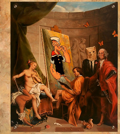 JERRY KUNKEL, THE MALE GAZE WITH SQUIRREL FIGURINE oil on canvas