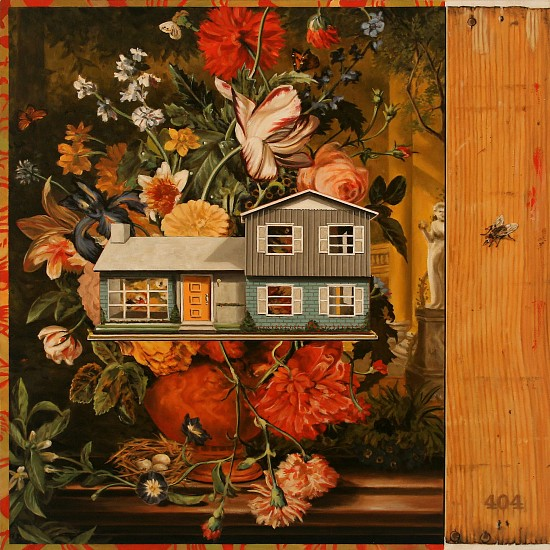 JERRY KUNKEL, STILL LIFE WITH HOUSE AND HOUSEFLY oil on canvas