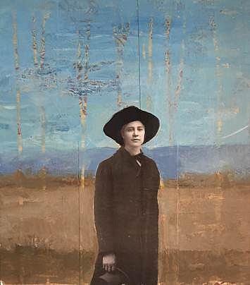 TOM JUDD, STANDING FIGURE #4 acrylic and collage on panel