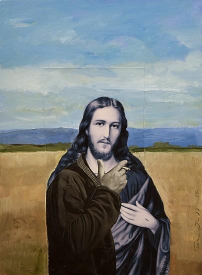 TOM JUDD, JESUS SMOKING acrylic and collage on panel