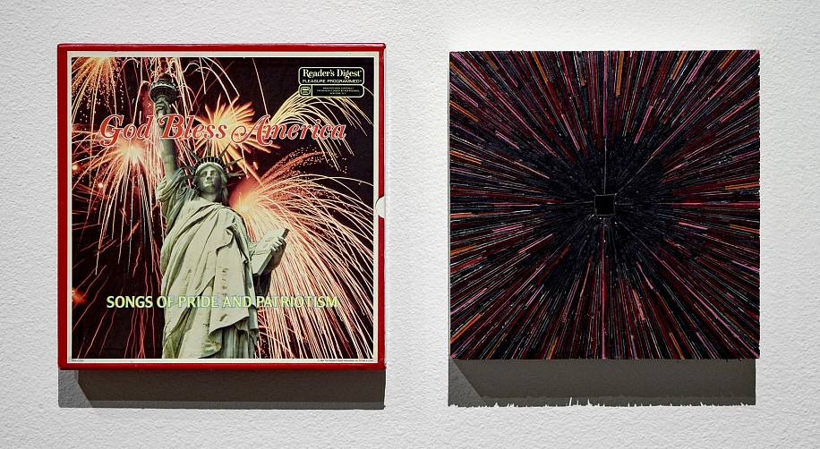 TERRY MAKER, GOD BLESS AMERICA vinyl record albums and found object
