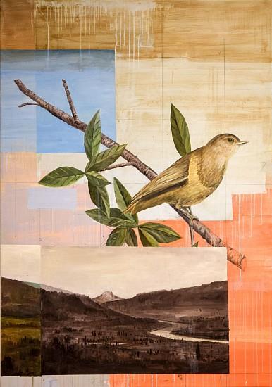 TOM JUDD, BIRD ON A BRANCH oil on canvas