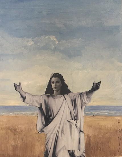 TOM JUDD, VIVIAN LEE AS JESUS acrylic and collage on panel