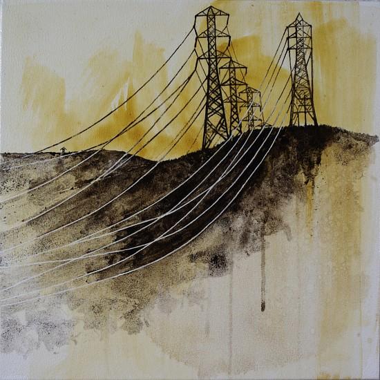KAREN KITCHEL, ENERGY STUDY #14 asphalt emulsion, mixed media, shellac on canvas