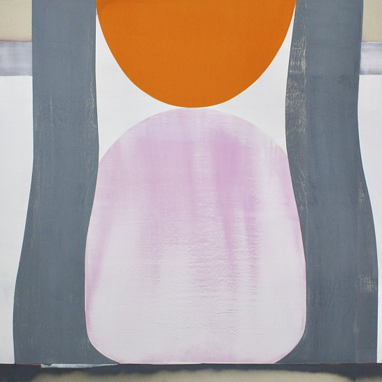 MARCELYN MCNEIL, ORANGE ON PINK oil on raw canvas