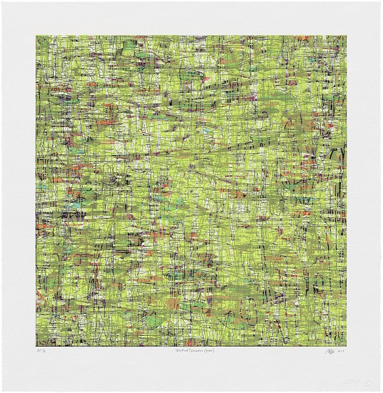 AMY ELLINGSON, IDENTICAL/VARIATION (GREEN) 1/12 etching, woodblock and UV acrylic