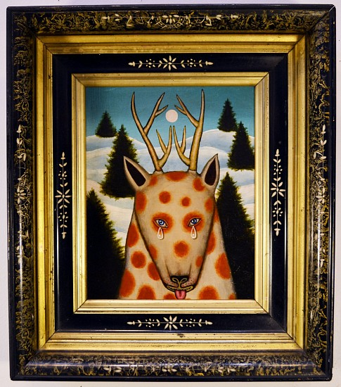 FRED STONEHOUSE, PIEBALD acrylic on panel with antique frame