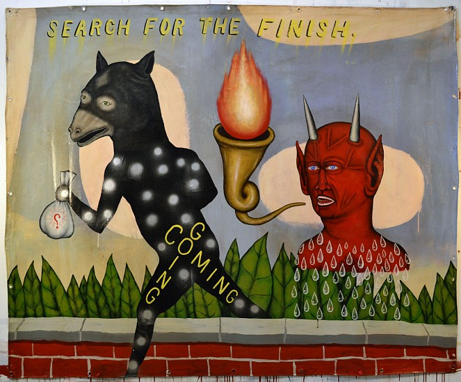 FRED STONEHOUSE, SEARCH FOR THE FINISH acrylic on canvas banner