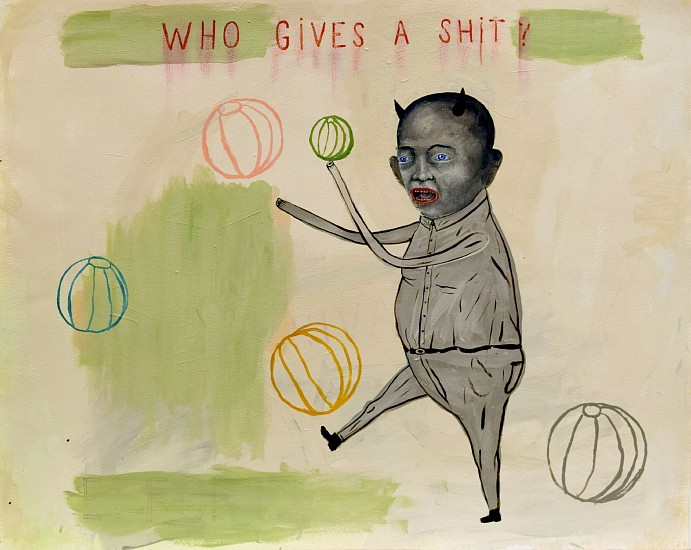 FRED STONEHOUSE, WHO GIVES A SHIT? acrylic on paper
