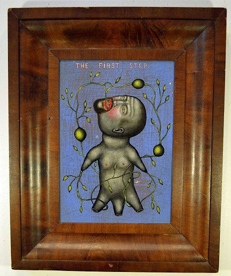 FRED STONEHOUSE, THE FIRST STEP acrylic on panel with antique frame