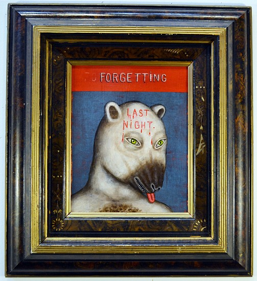 FRED STONEHOUSE, LAST NIGHT acrylic on panel with antique frame