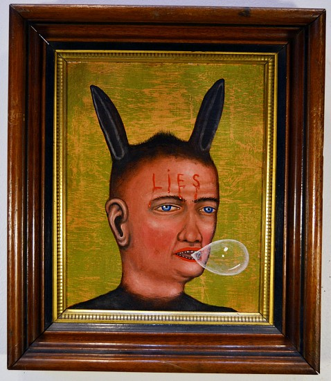 FRED STONEHOUSE, LIES acrylic on panel with antique frame