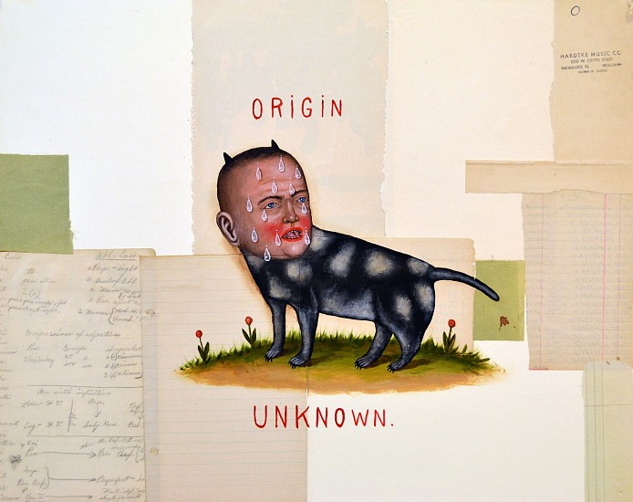FRED STONEHOUSE, ORIGIN UNKNOWN acrylic and collage on paper