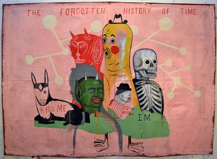 FRED STONEHOUSE, FORGOTTEN HISTORY OF TIME acrylic on canvas banner