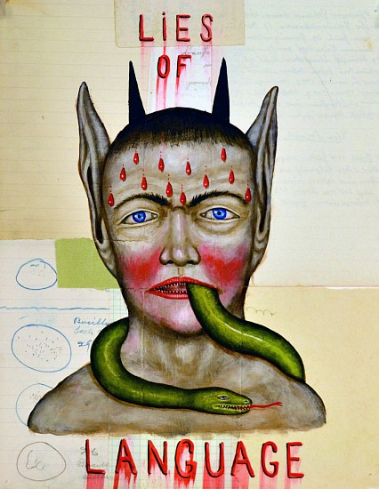 FRED STONEHOUSE, LIES OF LANGUAGE acrylic and collage on paper