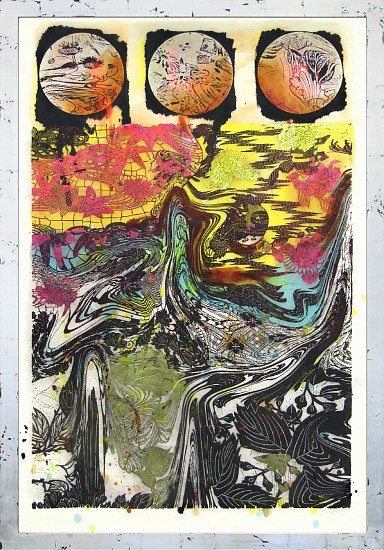 JUDY PFAFF, THE THREE FISHES 3/30 woodcut, hand painted dye, colored silver leaf