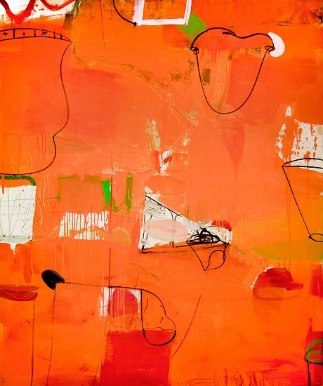 GARY KOMARIN, LANDSCAPE WITH A CUP latex acrylic and mixed media on canvas