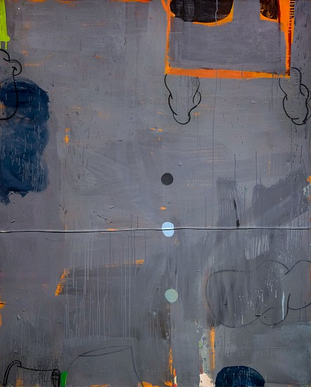 GARY KOMARIN, THE VICAR'S WIFE IN GREY WITH ORANGE latex acrylic and mixed media on canvas