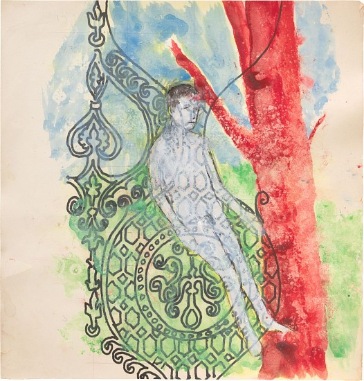 ENRIQUE MARTÍNEZ CELAYA, BOY AND RED TREE watercolor on paper