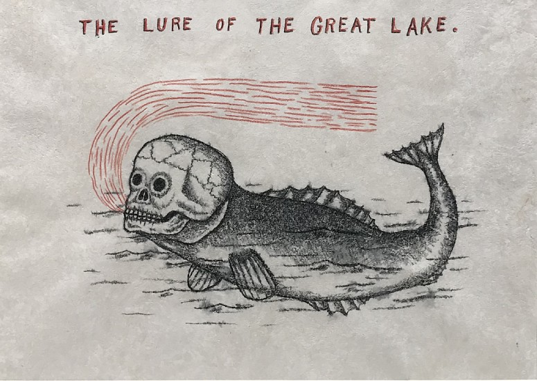 FRED STONEHOUSE, THE GREAT LAKE water soluble pencil and colored pencil on amate paper