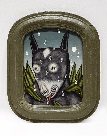 FRED STONEHOUSE, GARDEN MULE acrylic on panel with antique frame